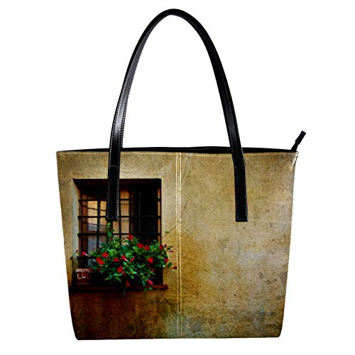 Vintage Window At Pienza City Wall Italy Women's PU Leather Fashion Handbag Top-Handle Shoulder Bags Totes Purses