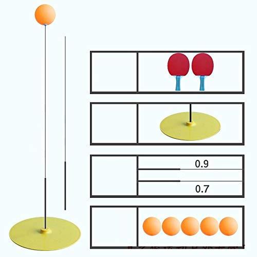 Tischtennis-Trainingsgerät Sportausrüstung Elastischer flexibler Schaft Tischtennis-Trainingsgerät Kinder-Anti-Myopie-Indoor-Selbstlernartefakt-Gelb (2 Schläger, 5 Bälle, 2 Schläge)