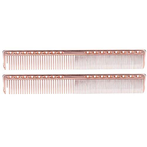 2 Stück Haarschnitt Kamm Professional Edelstahl Friseursalon Kamm Friseur Kamm Styling Tool für Friseur und Haarschneiden(Roségold)