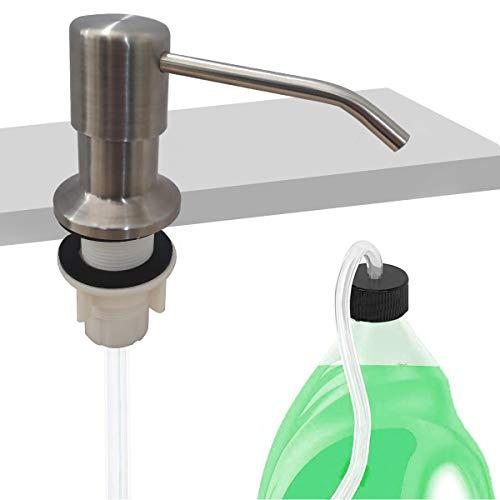 OUGOO Seifenspender für Küchenspüle Spülmittelspender aus Edelstahl Dispenser für Spülbecken mit 120cm Tube,Spenderpumpe und 4 universelle Flaschenverschlüsse Seifenspender Einbau Küche (gebürstet)