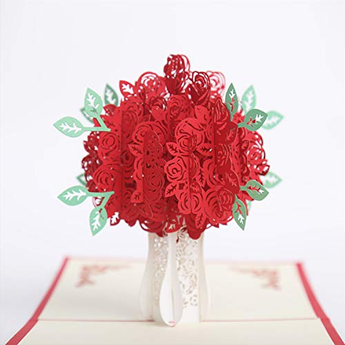 3D Greeting Card Rose Bouquet Pop Up Card Valentine's Day Card Anniversary Card with Envelop for Birthday Couple Friend Wedding