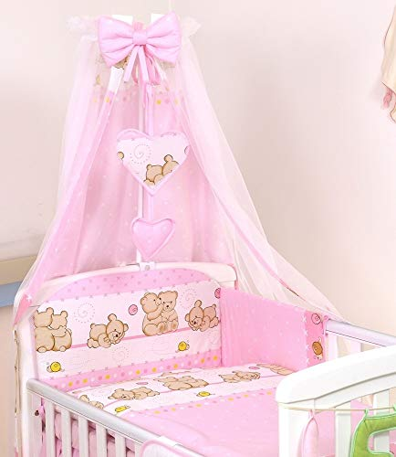 Pro Cosmo 10 Piezas Juego de Ropa de Cama para Cuna bebé/Edredón, Dosel, Protector (120x60cm, Rosa de Peluche) pink teddies polar bears