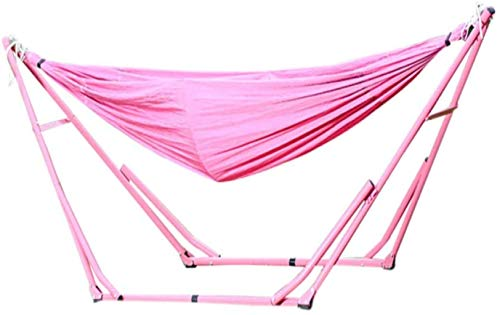 KAIGE Cotton Hammock With Sturdy Steel Frame,Patio Yard Beach Outdoor Double Hammock,with Space Saving Steel Stand,Pink WKY