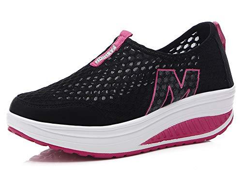 Wandelschoenen voor dames met mesh, plateau, turnschoenen, modieuze veterschoenen, sneakers met sleehak, shape-up fitnessschoenen, zwart, 38 EU