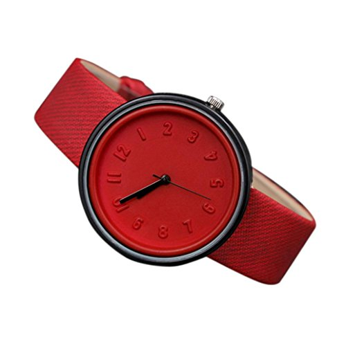 Coolster Unisex Einfache Zahl Uhren Bequeme Segeltuch-Gürtel Armbanduhr Armband (Rot)