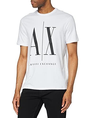 Armani Exchange Icon T Camiseta, Blanco (White W/Black Print 5100), Small para Hombre
