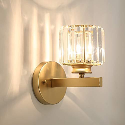 Mengjay Apliques de luz de pared de pantalla de cristal de diseño de lujo moderno para dormitorio, sala de estar, comedor, Aplique de pared, Lámpara de pared de estilo moderno (Dorado)