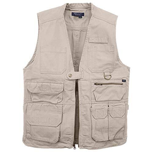 5.11 Tactical Men's Conceal Carry Vest, Cotton Canvas, TacTec System, 17 Pockets, Khaki, Medium, Style 80001