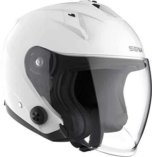 Sena ECONO-GW00M ECONO Jethelm Mit Integriertem Bluetooth-Kommunikationssystem, Glänzend Weiß, M Größe, ECE-zertifiziert