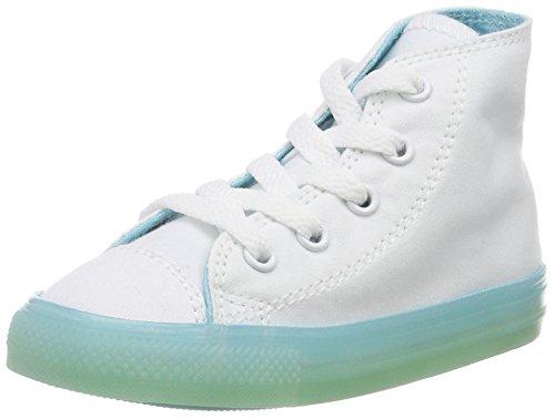 Converse Unisex Baby Ctas HI White/Bleached Aqua Krabbelschuhe, Weiß (White/Bleached Aqua 100), 25 EU