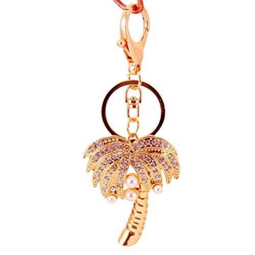 PRETYZOOM Palm Tree sleutelhanger kristal strass kokos palmboom bedeltje sleutelhanger auto telefoon portemonnee tas decoratie Pasen Verjaardagscadeau