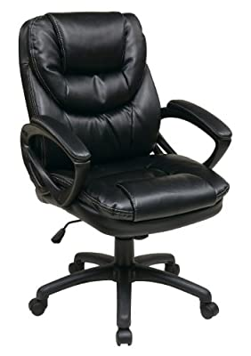 Office Star Deluxe Oversized Executive Faux Leather Chair with Padded Arms
