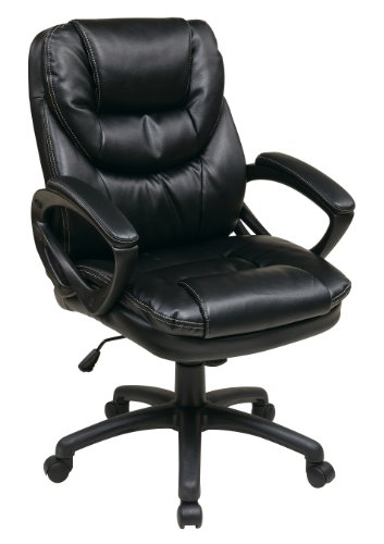 Office Star Faux Leather Manager's Chair with Padded Arms, Black