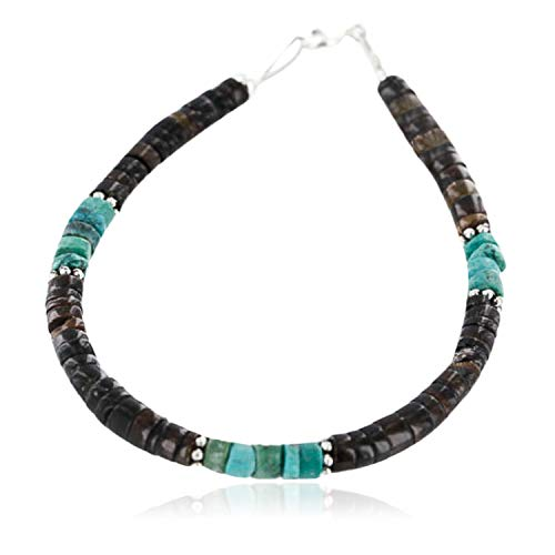 $80Tag Certified Silver Navajo Turquoise HEISHI Native American Bracelet 390848967588 Made by Loma Siiva