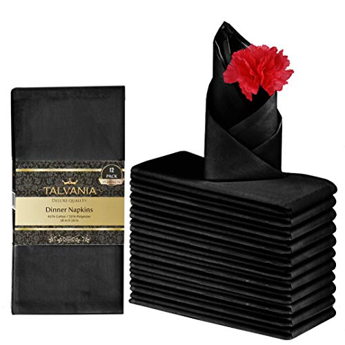 "Talvania Cloth Dinner Napkins - 12 Pack Luxuriously Soft & Hotel Quality Cotton Napkins, Brilliant Crystal White Fabric Napkins (18"" X 18"") Perfect for Events, Hotel & Home Use"