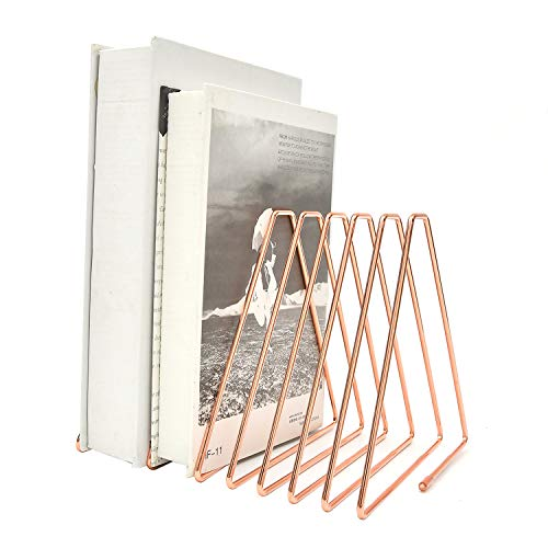 ブックエンド本立て仕切りスタンド伸縮自在金属製整理ファイル/雑誌/新聞/書類入れ三角のブックスタンド卓上収納デスクトップのシンプルな鉄製の本棚デスクブックエンドストレージラック(ローズゴールド)