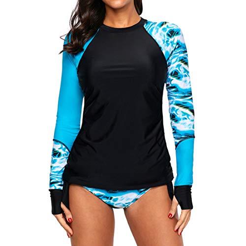 ZHUQI Hippie Badeanzug Damen Zweiteilig Blumendruck Tauchanzug Langarm Tanikinis Sonnenschutz Shaping Schwimmanzug UV Schutzkleidung Schwimmanzug Badehose 3XL