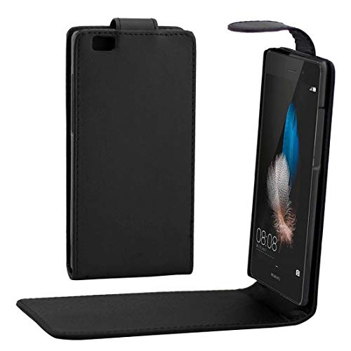 GGAOXINGGAO Nueva Caja de Cubierta de teléfono Celular Huawei P8 Lite Fundade Cuerocon Hebilla magnéticade Flip Vertical de Textura de Nappa (Color : Black)