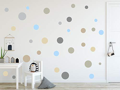 timalo® 120 Stück Wandtattoo Kinderzimmer Kreise Pastell Wandsticker – Aufkleber Punkte | 73078-SET7-120