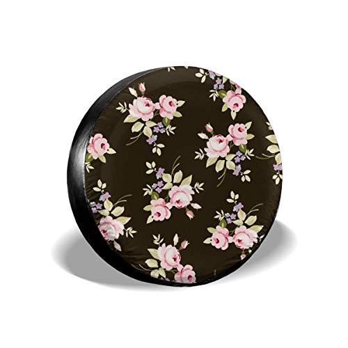 Hokdny Cubierta DE LA Rueda Patrón Floral con Rosas Rosadas Romantic Wheel Cover with PVC Leather Waterproof Dust-Proof Fit