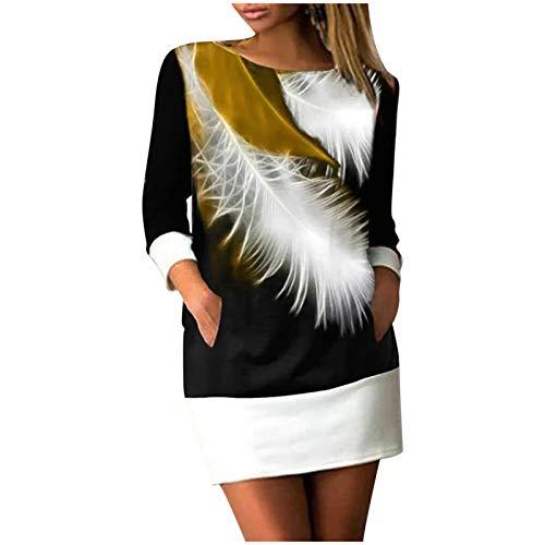 Geilisungren Damen Vintage Federdruck Rundhalsausschnitt Langarm Taschen Minikleid Lose Straight Pullover Kleider