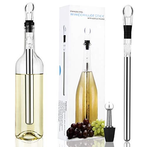 Fazusen Weinkühlstab Weinkühler Set mit Ausgießer Edelstahl Flaschen-Weinkühlstab Dekantierausgießer und -Belüfter Bierkühlstock für Haus-Stab-im Freienstrand-Partei BBQ-Trinken