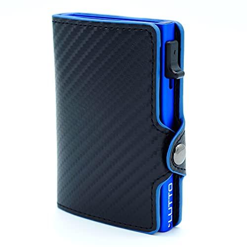 Tarjetero Fibra Carbono Hombre | Tarjetero pequeño Piel | Tarjetero metálico Aluminio Bloqueo RFID para Tarjetas de crédito | Cartera pequeña de Piel | Tarjetero de Cuero para Hombre. (Azul)