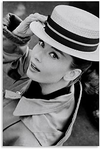 DCPPCPD Lienzo Pintura Al Óleo 60x90cm Sin Marco Audrey Hepburn Impresión de Arte en Blanco y Negro Póster de decoración de Dormitorio Familiar Moderno