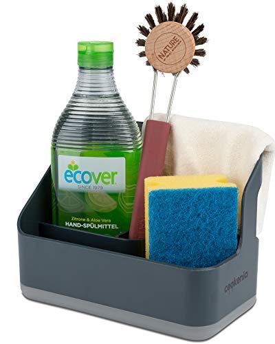 cookenia - Spülbecken Organizer für die Küche - perfekt zur Aufbewahrung von Lappen, Spülmittel, Spülbürste und Spülschwamm an einem Ort - designgrau