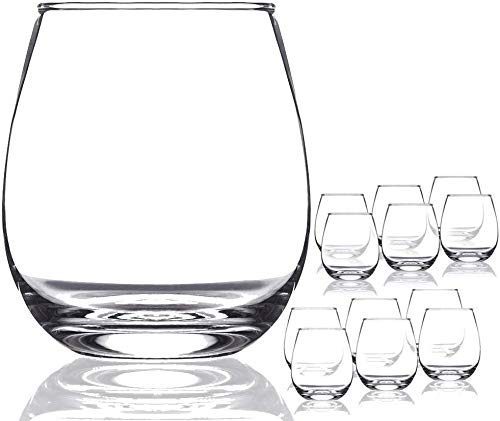Chef's Star Shatter-Resistant Stemless Wine Glass Set (12 Pack) (17 Ounce)