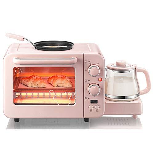 ChengBeautiful Maquina De Desayuno Multifuncional Desayuno Tostadora pequeño Horno eléctrico del Huevo Frito de Aislamiento All-in-One Máquina (Color : Pink, Size : 50.8x28x29.6CM)