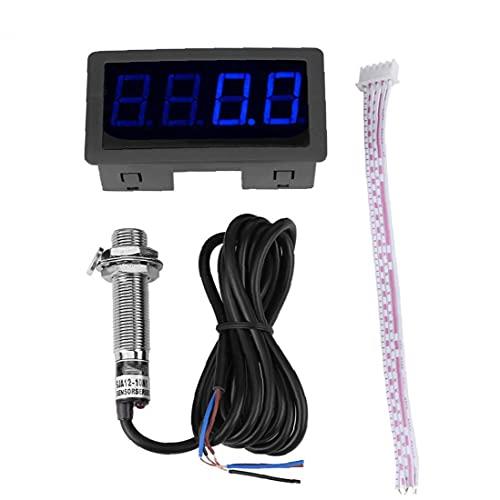 Tacómetro RPM METER 4 DIGITAL LED Mini TAG TACH HORA GAUGE CON EL SENSOR DE INTERRUPTOR DE PROXIMIDAD DE HALL NPN
