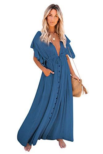 Mujer Vestido Espalda Descubierta Largo con Botones Camisolas y Pareos Lisos Bohemio Tunica Piscina Caftan Playa Kaftan Etnico Kimono Manga Corta Volant Traje de Baño Bikini Cover Up