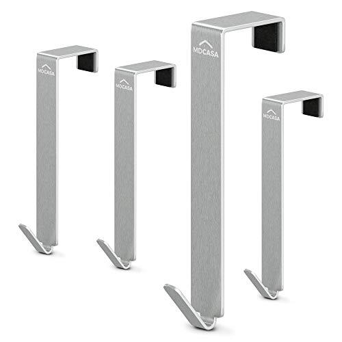 MDCASA Türhaken Edelstahl - bis 2,5cm Türfalz - 4 Stück - Kleiderhaken über Tür - Fensterhaken Deko - Garderoben-Haken – Handtuchhalter