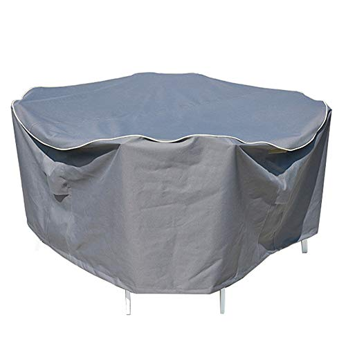 XQKXHZ Binnenplaats Meubilair Cover, Ronde Outdoor Tuin Terras Eettafel Set Heavy Duty 600D Oxford Doek Waterdichte Anti-UV Stofhoes