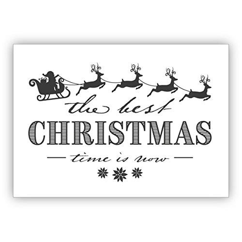 Kartenkaufrausch Prachtig nobele vintage retro kerstkaart met kerstman slee en rendieren: de beste christmas time is now • feestelijke wenskaart voor jaarwisseling