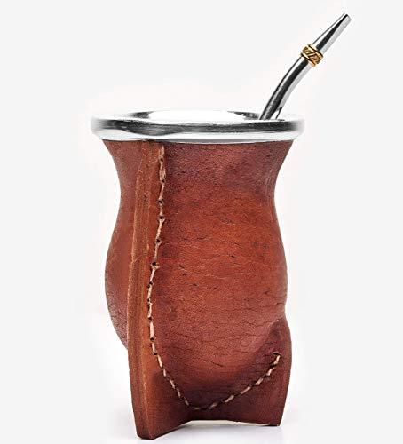 BALIBETOV Mate natürlicher handgefertigter Kürbis (Mate Becher) in Leder gefüttert - mit Bombilla (Sorbet) für Matein (BRAUN)