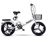 ZLYJ Bicicleta Plegable De 20 Pulgadas con Doble Choque, Desviador De Velocidad De Bicicleta Plegable con Portaequipajes, Bicicleta De Montaña De Suspensión Completa A,20 in