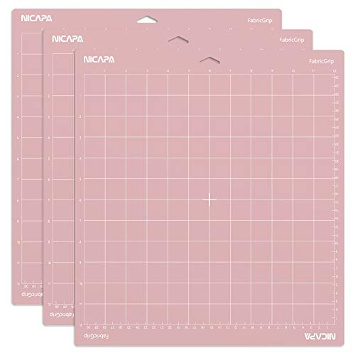 Nicapa FabricGrip Cutting Mat for Cricut Explore Air 2 Maker(12x12 inch,3 Pack) Standard Adhesive Sticky Pink Quilting Cricket Cut Mats Replacement Accessories for Cricut