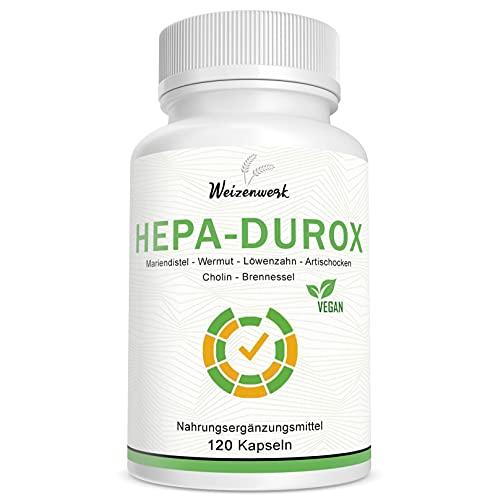 Hepa-Durox – Nahrungsergänzung für die Leber mit Mariendistel - Cholin – Artischocken – Brennessel - Wermut und Löwenzahn – 120 Kapseln – Vegan