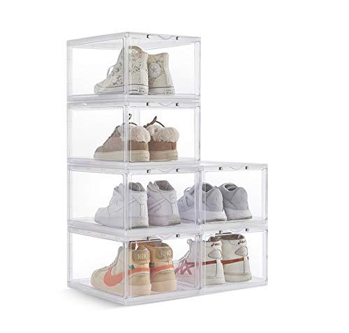 Zapato De Almacenamiento Apilable Caja Transparente, Zapatos Gota Frente Contenedor, Zapatilla Deporte Acrílico Plegables Organizador Hombres Mujeres AJ De Zapatos,Blanco,6BoxesEachPackage