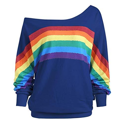 ESAILQ Frau Lose Langarm-Regenbogen-Druck-Pullover-Sweatshirt(XXXXXL,Blau)
