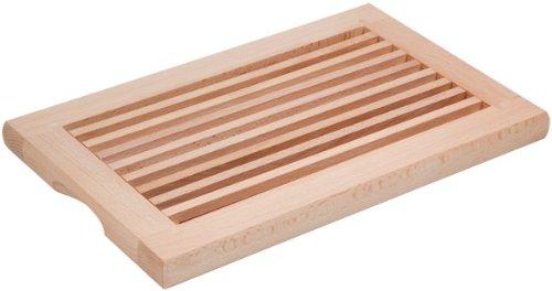 HOFMEISTER® Brotschneidebrett Holz, rechteckig, Länge 40 cm, herausnehmbarere Auffangschale, aus Europa, Schneideunterlage mit Krümelgitter, 1 Stück, Buche, stabiles Schneiden
