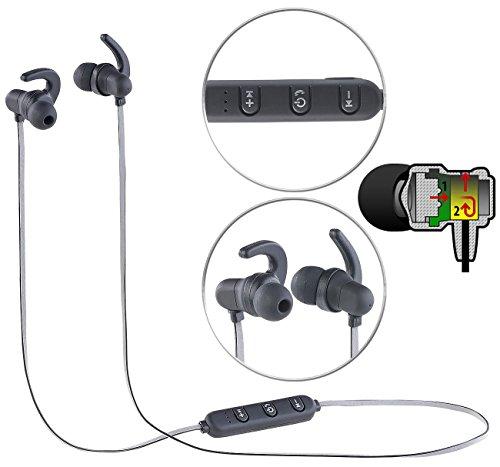 auvisio Kopfhörer in Ear: In-Ear-Headset mit Bluetooth, Fernbedienung & patentiertem Soundsystem (Headset zum Musik Hören, Bluetooth)