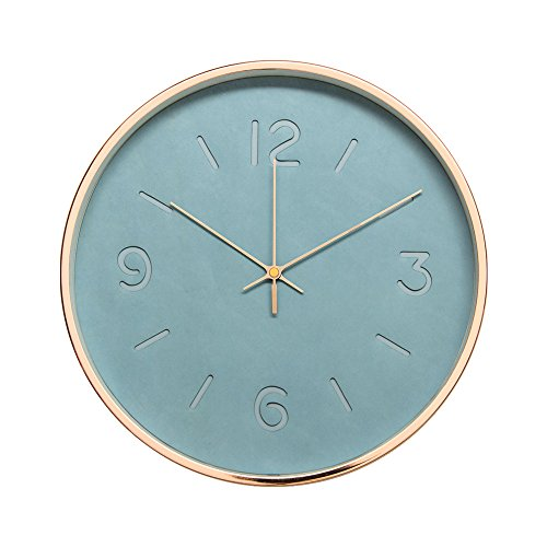 """Arospa modern in craft leather design 12"""" silent non-ticking wall clock with rose gold frame (blue slate)"""