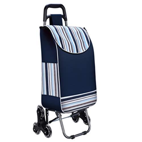 NYDZDM Carrito plegable para remolque para el hogar, portátil, para escalada, carrito de la compra, carro pequeño, equipaje (color: azul)