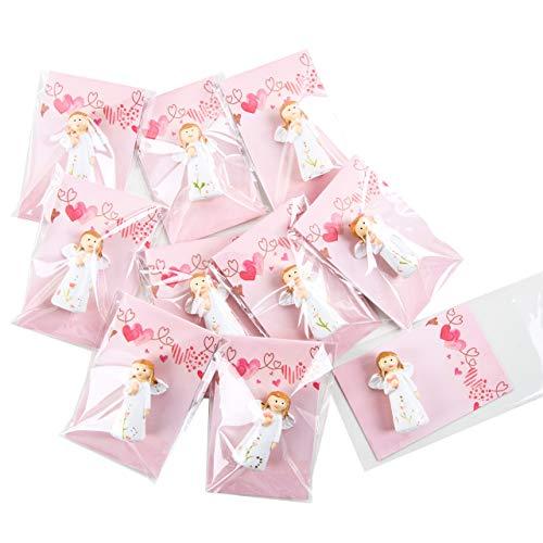 Logbuch-Verlag 10 pequeños regalos para invitados, ángel + tarjeta rosa con corazones, obsequios listos para bautizo, comunión, cumpleaños infantil