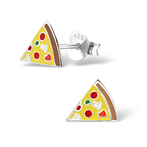 Cute Pizza Earrings Girls Children Silver Studs Stering Silver 925 (E24726)