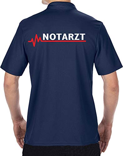 FEUER1 Funktions-Poloshirt Navy, Notarzt mit roter EKG-Linie L