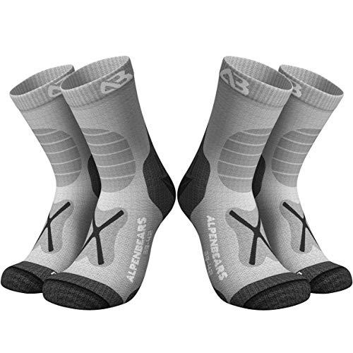 Premium Wandersocken aus Merino Wolle - [2 Paar] - Profi Trekkingsocken zum Wandern - Outdoor Socken für Damen, Herren & Kinder - Warme Merino Wandersocken - Funktionssocken - (Grau, 43-48)